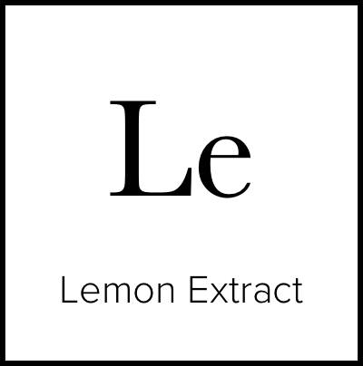 """A square that is meant to look like an element from the Periodic Table of Elements. It says """"Le Lemon Extract."""""""