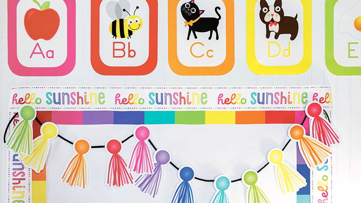 Hello Sunshine straight borders and cut-outs classroom decorations