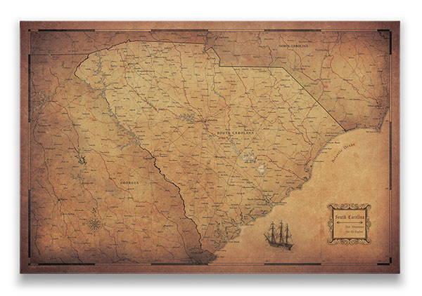 South Carolina Push pin travel map golden aged