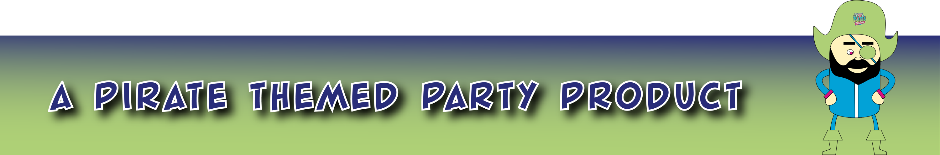 a pirate themed party product banner with pirate design