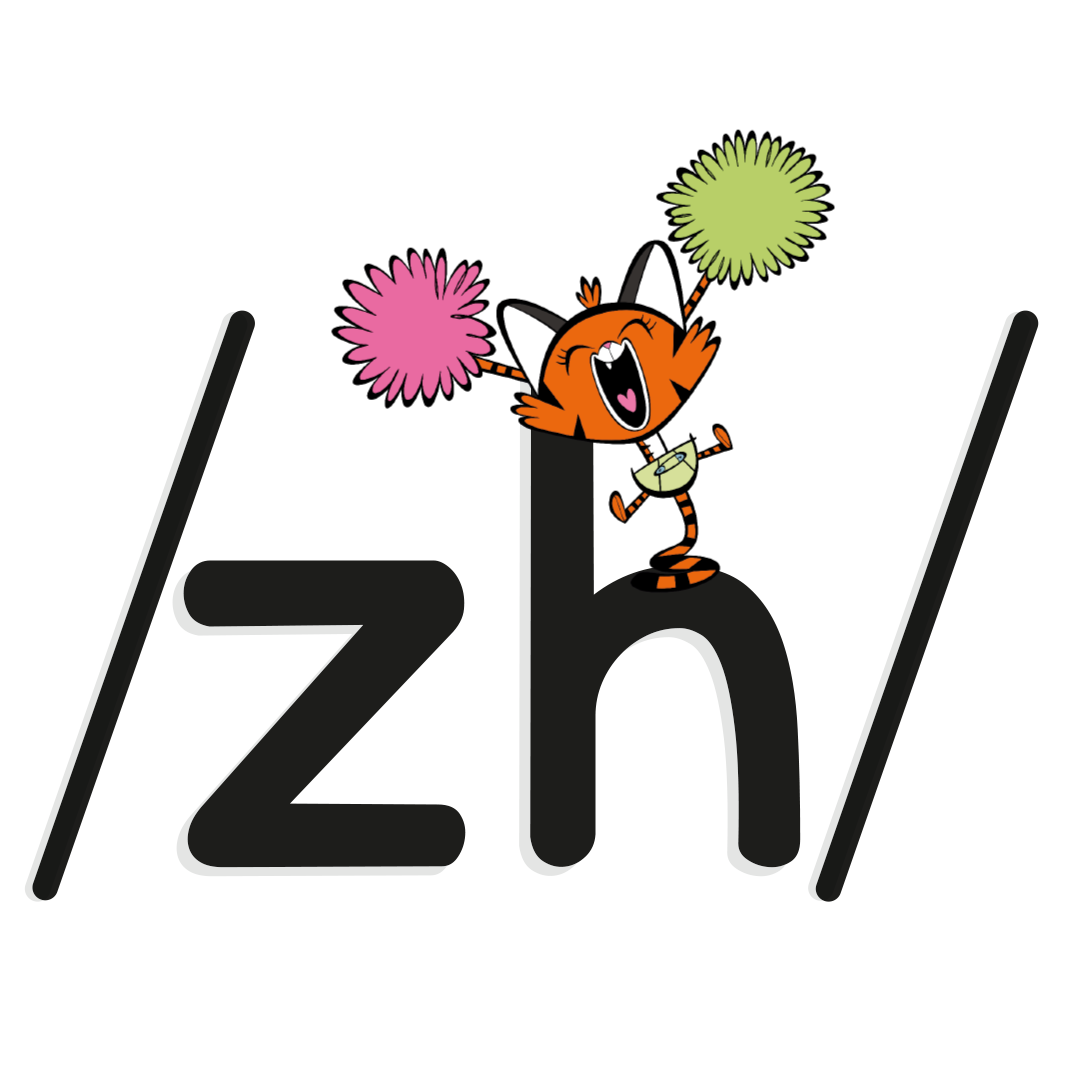 Illustrated character next to the phoneme /zh/