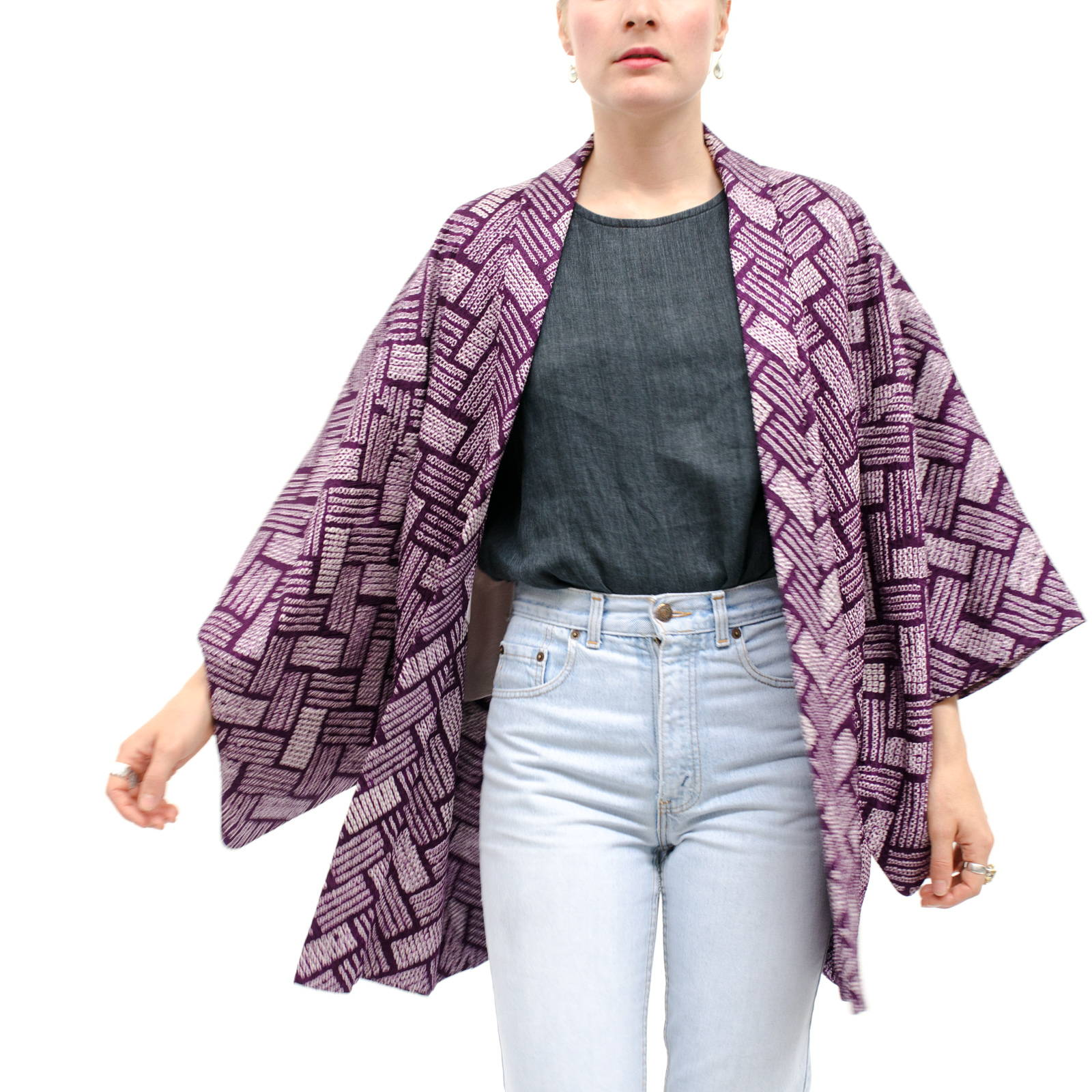 Purple Kimono jacket with Shibori finish