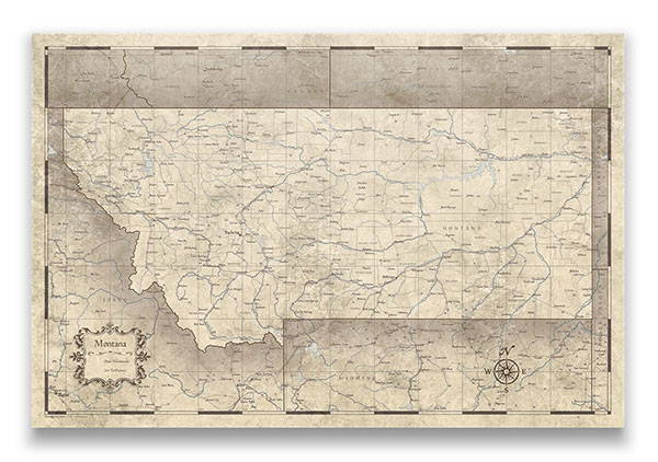 Montana Push pin travel map rustic vintage