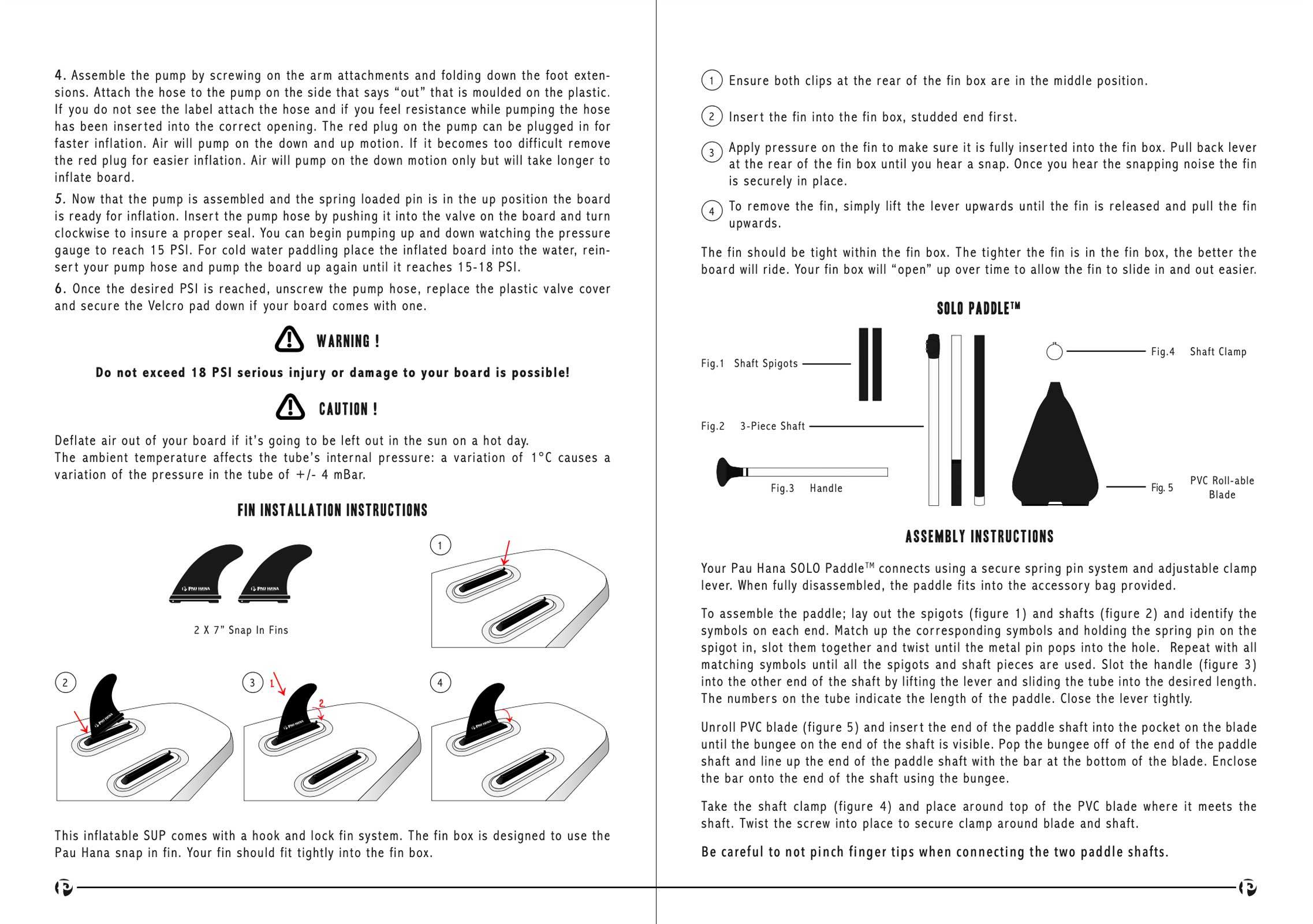 pau hana Solo SUP Backcountry inflatable stand up paddle board user manual page 4-5