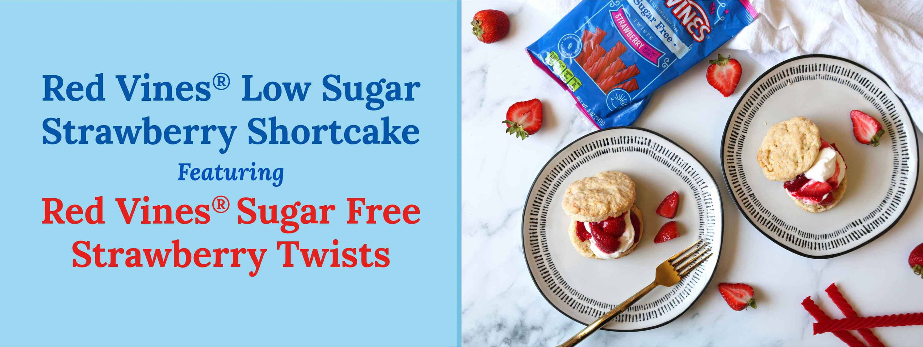 Red Vines Low Sugar Strawberry Shortcake featuring Sugar Free Strawberry Twists