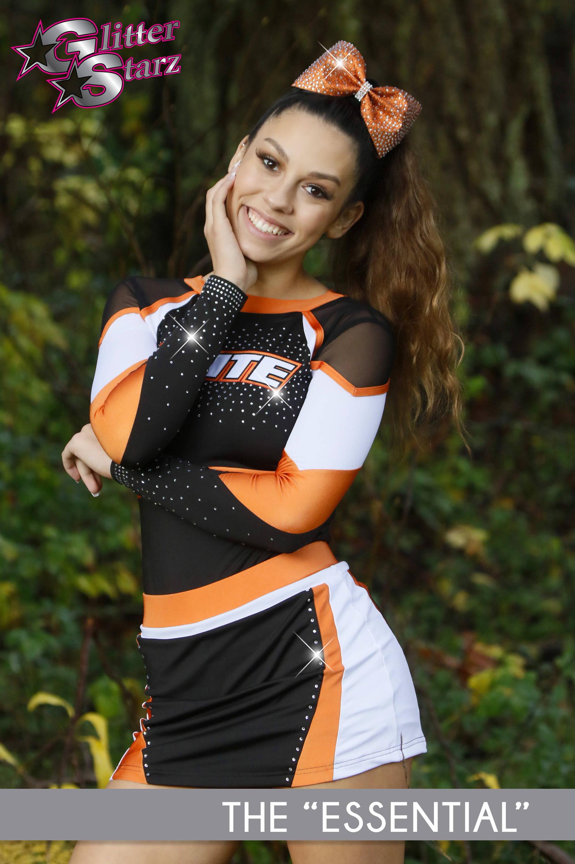 budget uniform cheer dance orange glitterstarz skirt bling