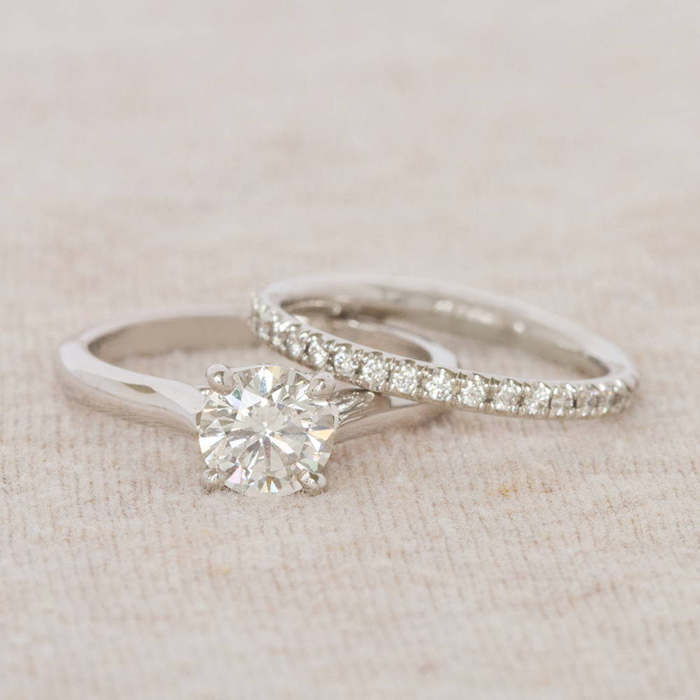 Solitaire Engagement Ring and Band