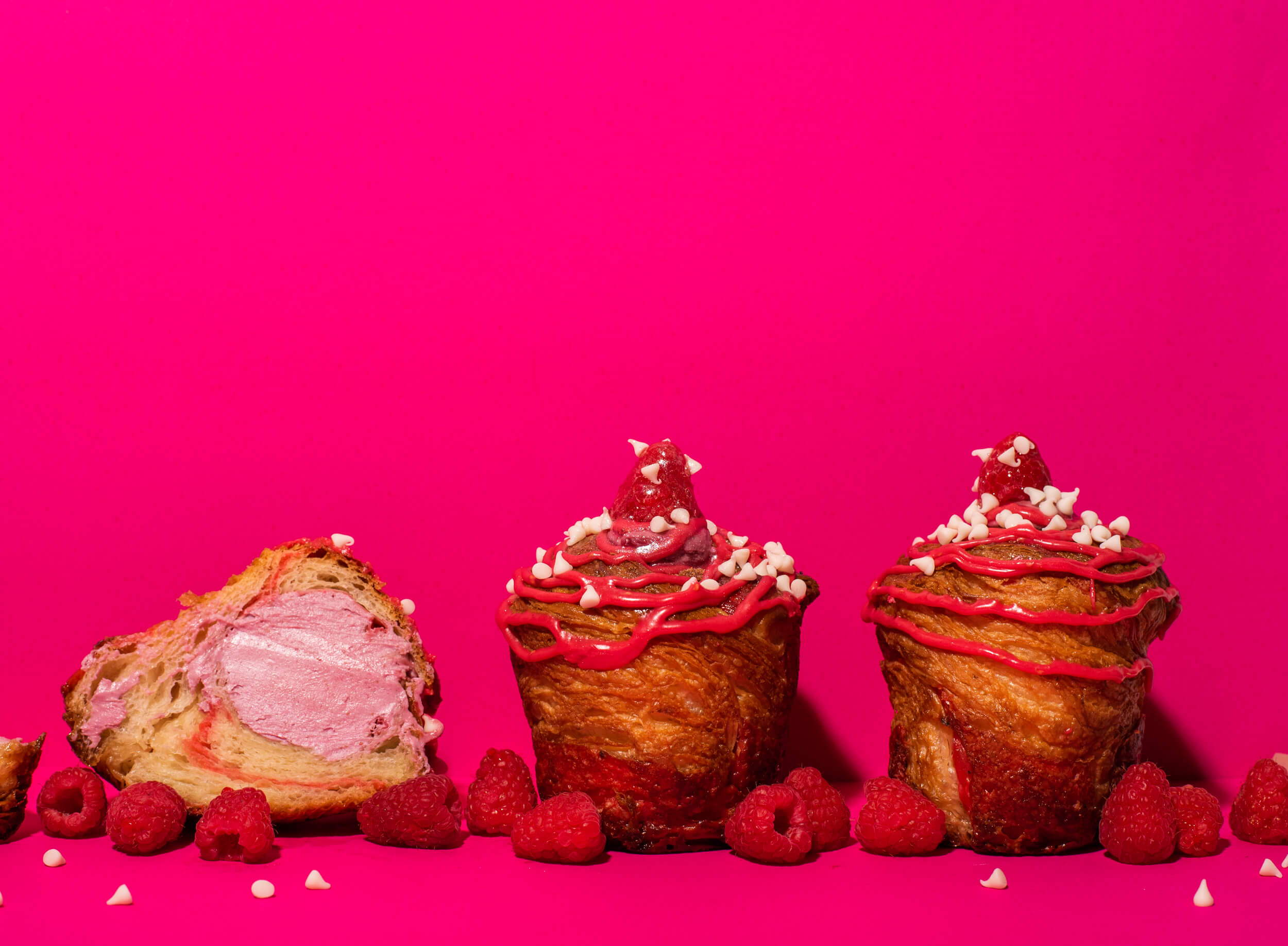 raspberry croissant cruffin vegan