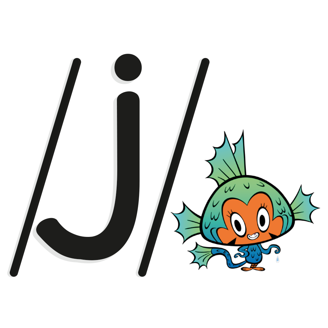 Illustrated character next to the phoneme /j/