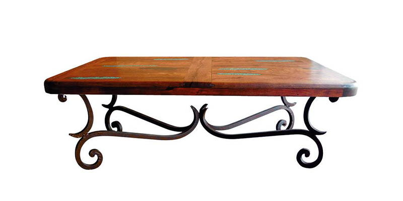 Mesquite wood rectangular coffee table with turquoise inlay and wrought iron base