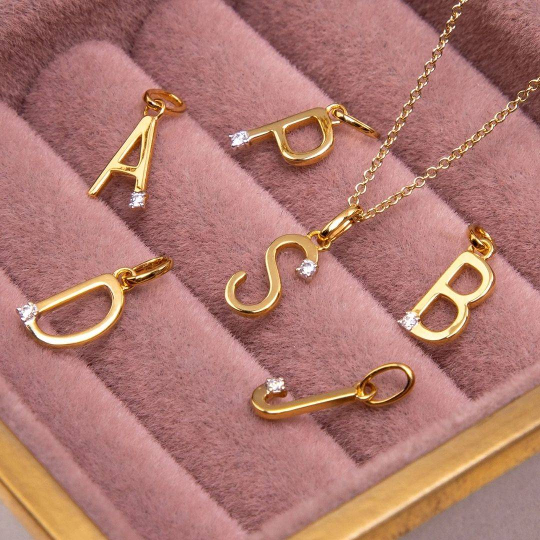 Diamond Yellow 9ct Gold Initial Necklaces