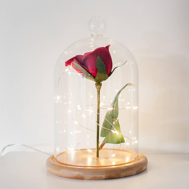 weddings wedding decor bell jar wedding centrepieces rose light All white glitter rose light