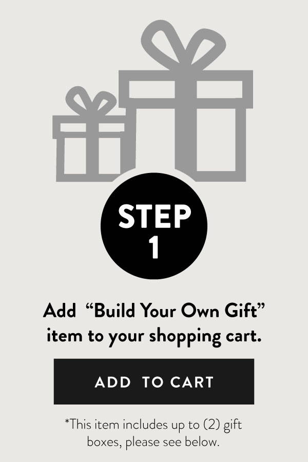 Link: Step 1, illustration of gift box with ribbon and add to cart text