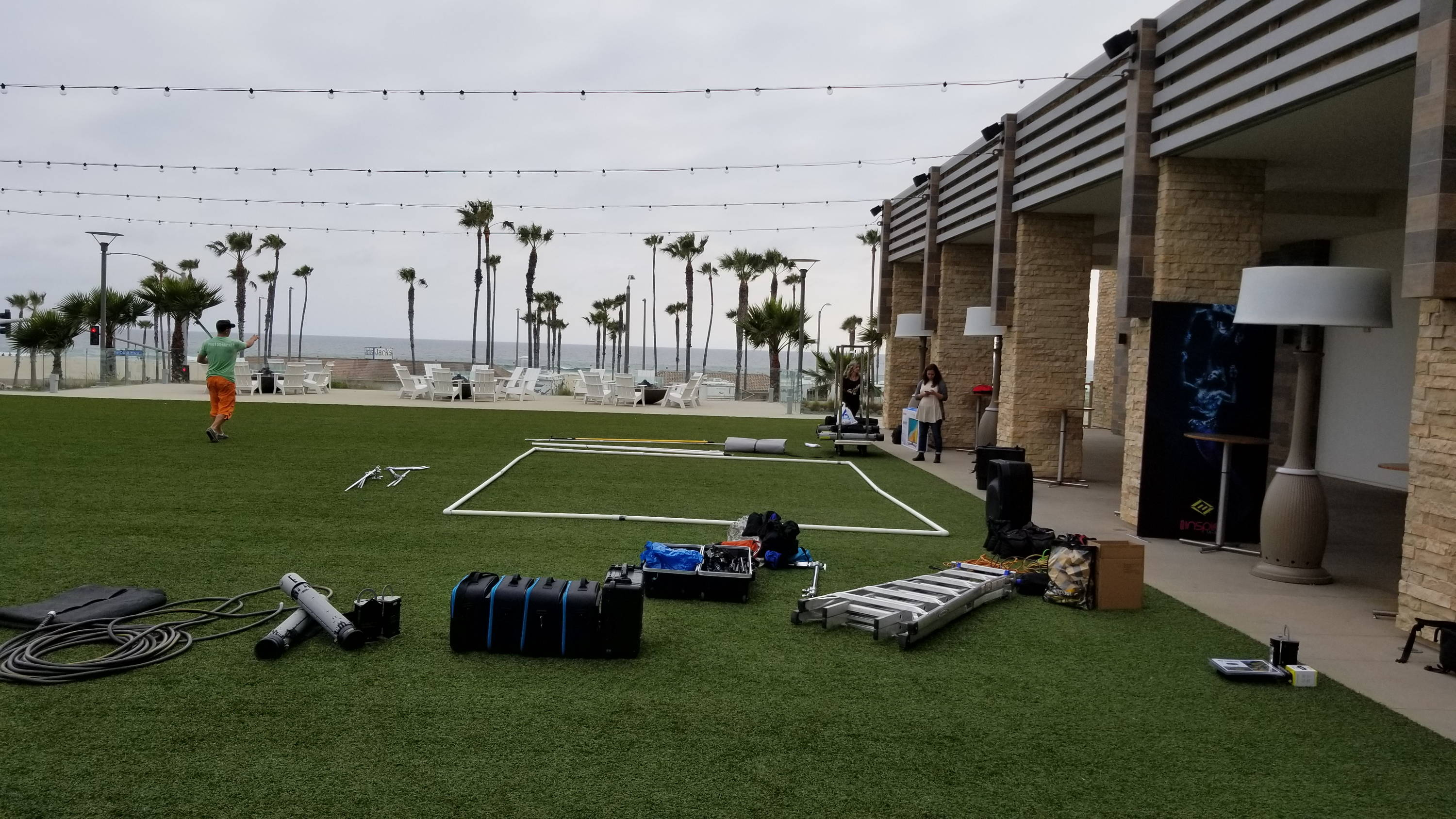 The crews lays all the gear out on the lawn before starting set up to put the best plan in place.