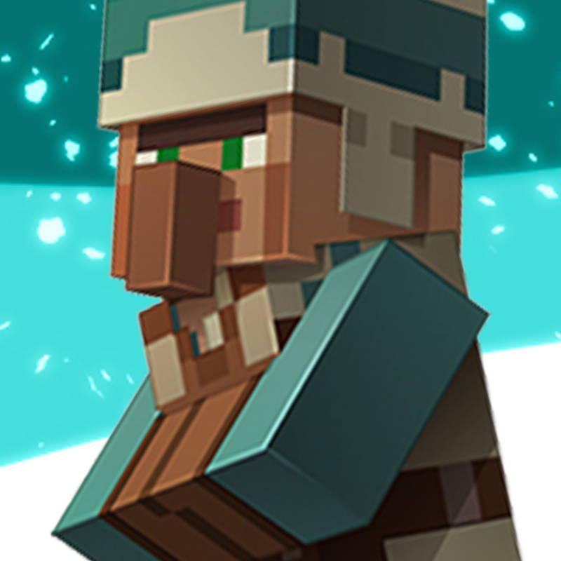 Festive Minecraft villager graphic.