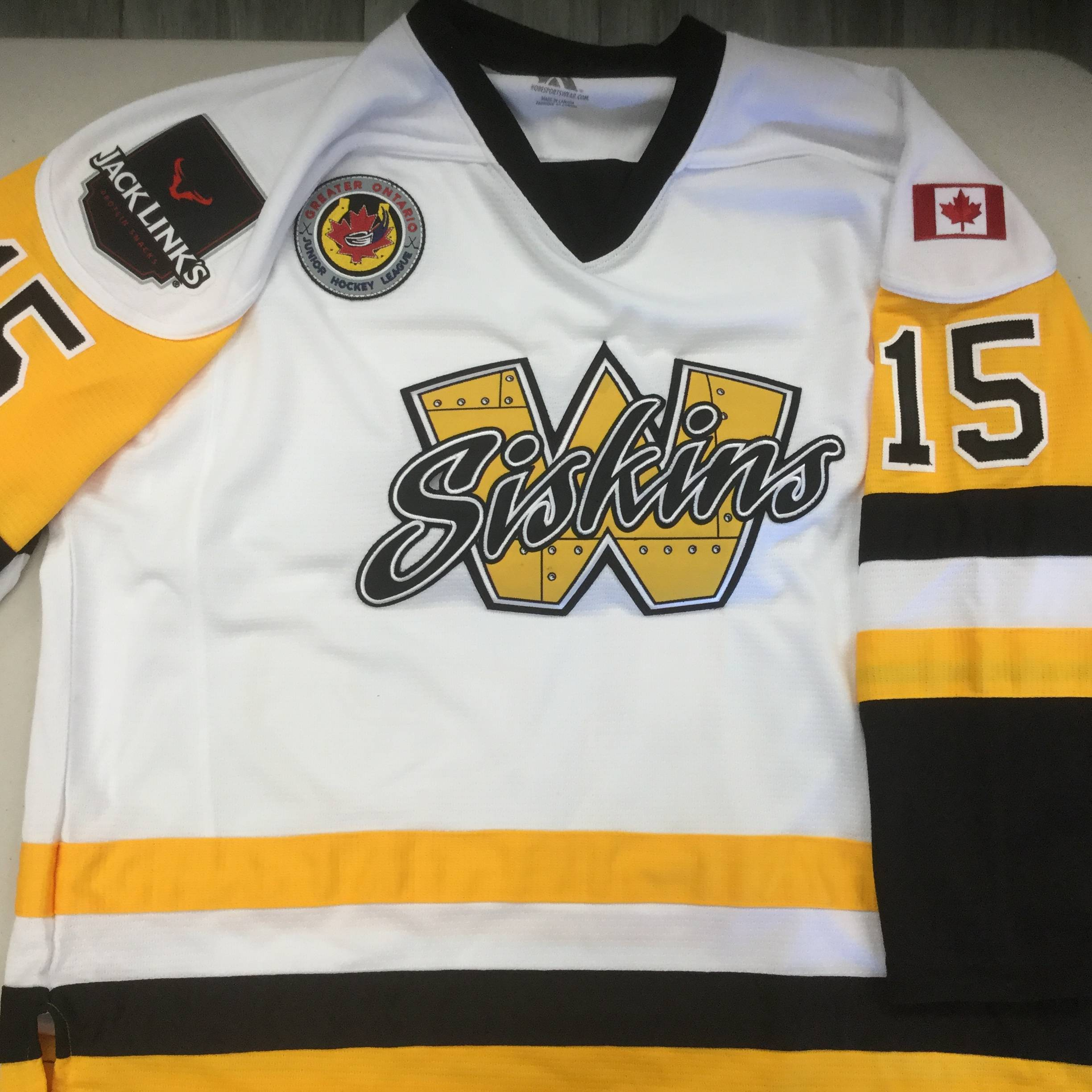 Embroidered Twill Custom Hockey Jerseys Waterloo Siskins