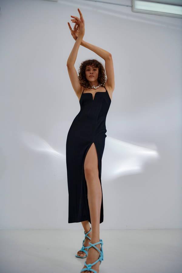 Galvan London Corset Back Black Dress
