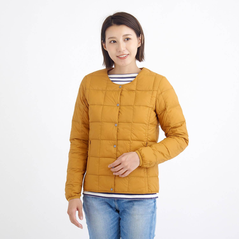 TAION(タイオン)/クルーネックボタンダウンジャケット/オレンジ/WOMENS