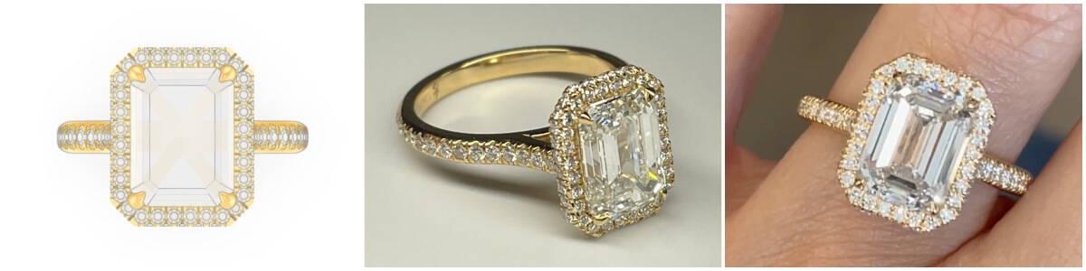 custom emerald cut engagement ring