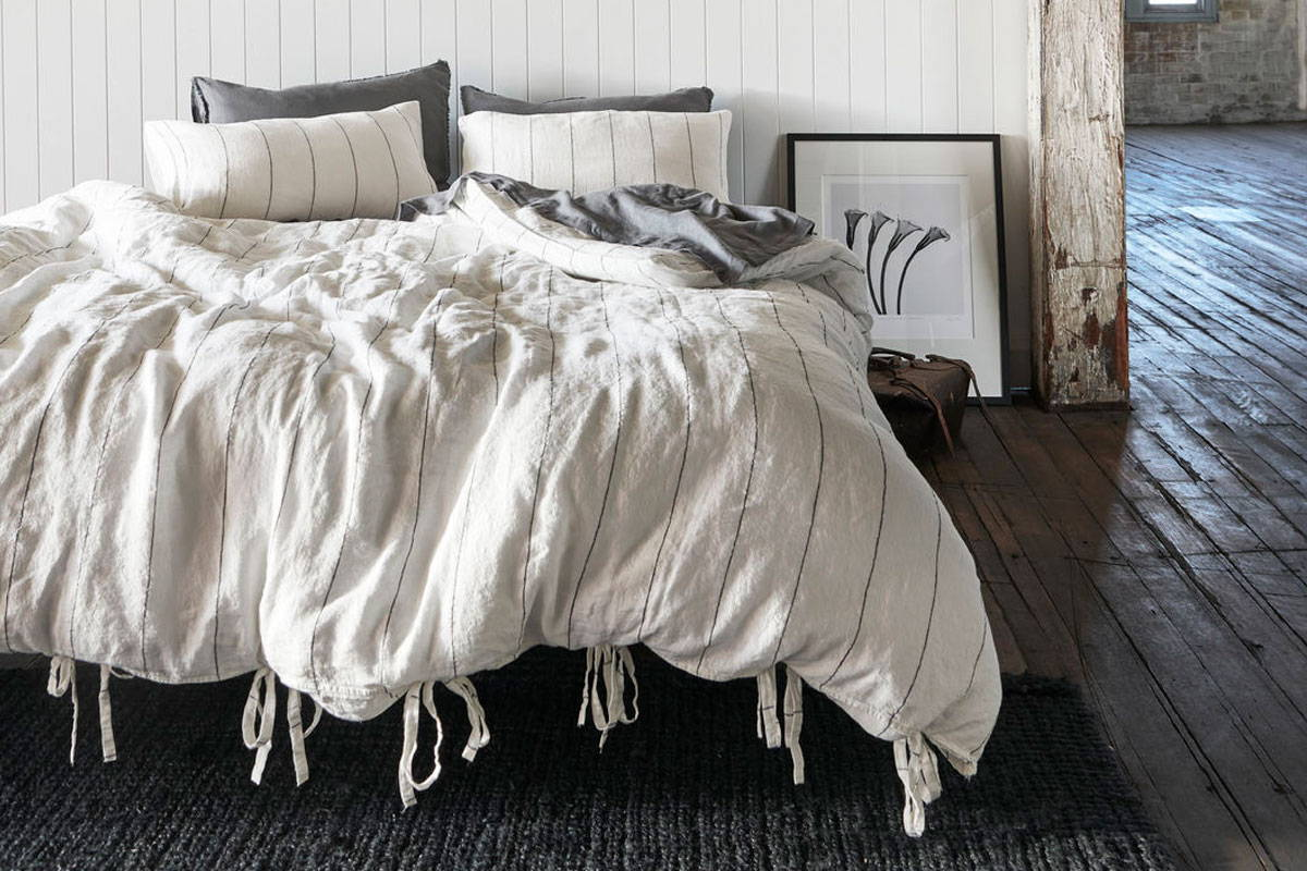 eadie lifestyle - carter linen quilt cover and linen sheets and pillowcases