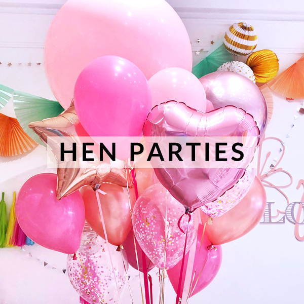 Stylish hen party supplies, decorations, games and balloons.