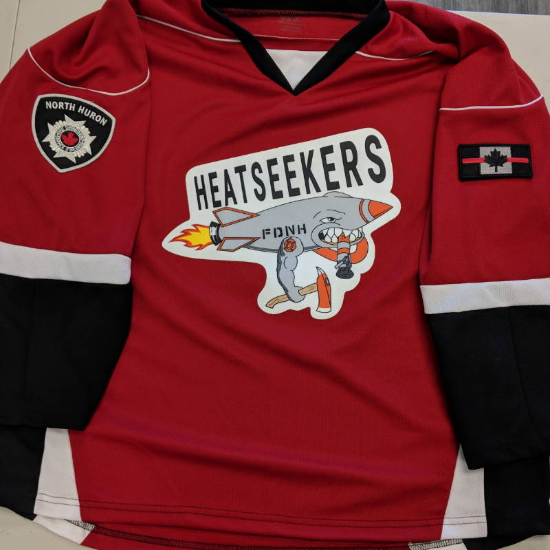 Custom Hockey Jersey With Sublimated Twill Crest on Kobe XJ6 Red/Black/White: Wingham Fire Department (Heatseekers)
