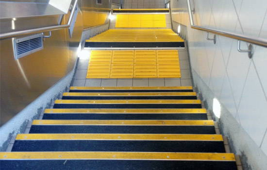 Bold Step Aluminum Stair Tread installed in subway
