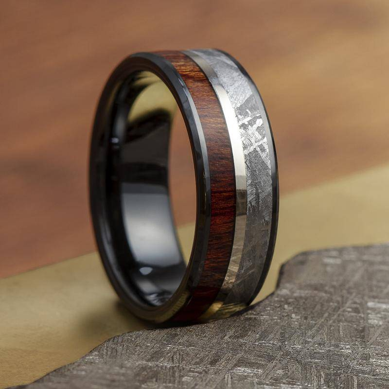 Black Ceramic Wedding Band with Meteorite and Wood