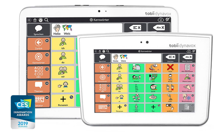 Augengesteuerte Kommunikations-Tablets Indi und Indi 7 von Tobii Dynavox, mit der Kommunikations-App Snap + Core First