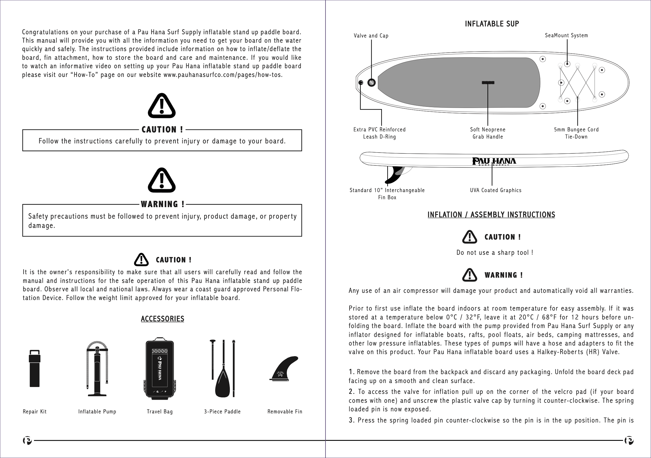pau hana inflatable stand up paddle board user manual page 2-3