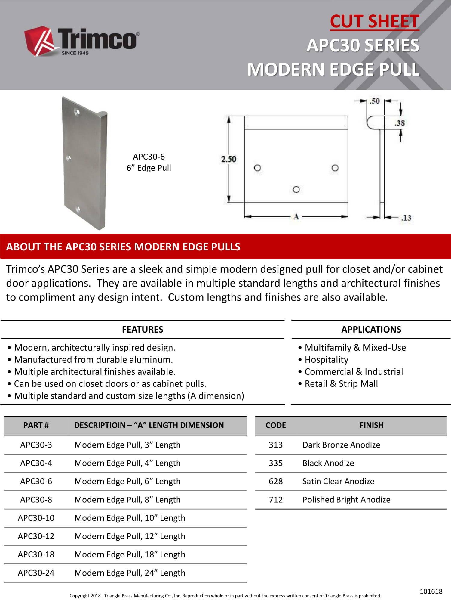 APC30 Series Modern Edge Pull