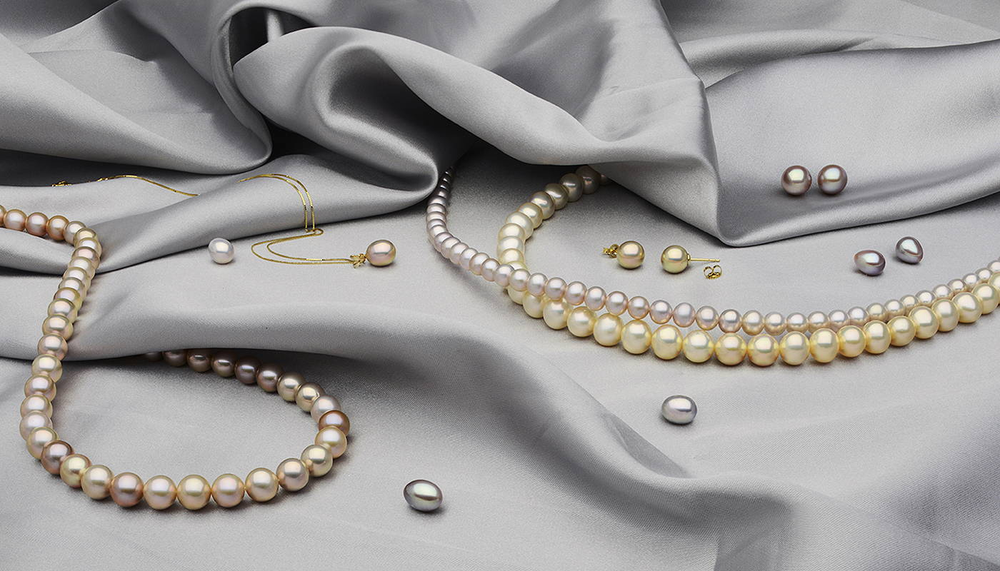 Cultured Freshwater Pearls on Grey Silk - Glamour