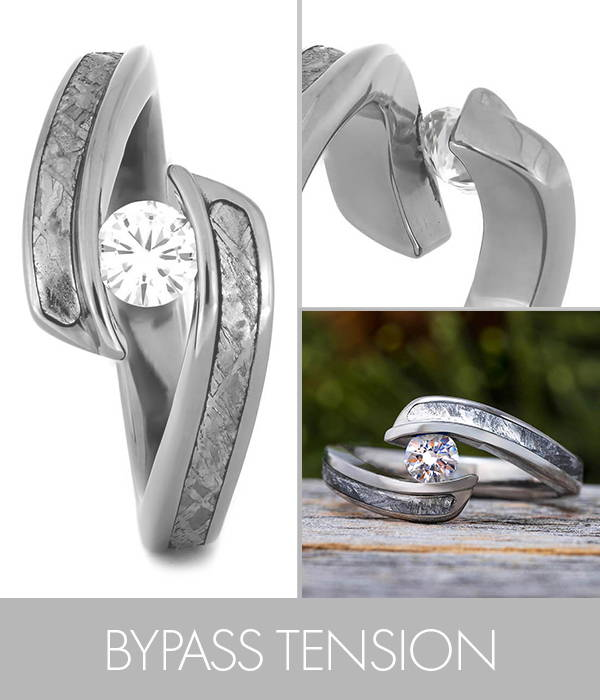 Bypass Tension Set Engagement Ring