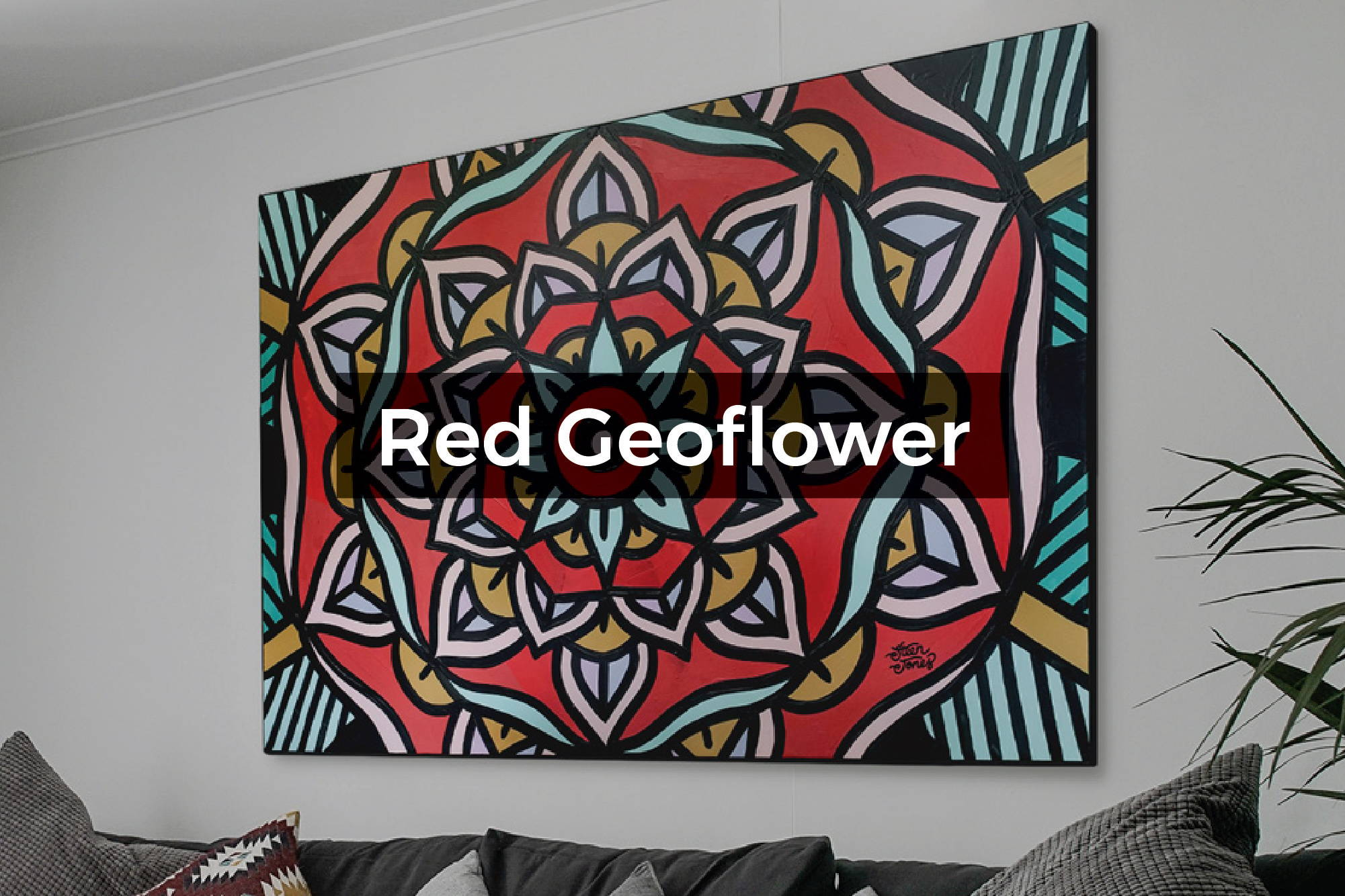 Red Geoflower Canvas by Steen Jones