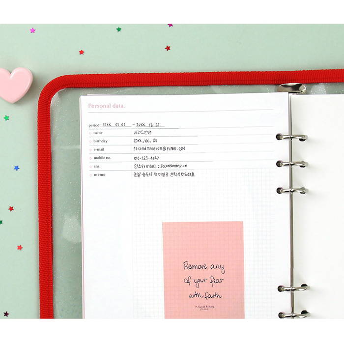 Personal data - Second Mansion Retro A5 6-ring dateless weekly diary planner