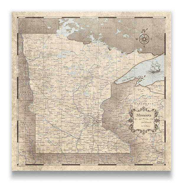 Minnesota Push pin travel map rustic vintage
