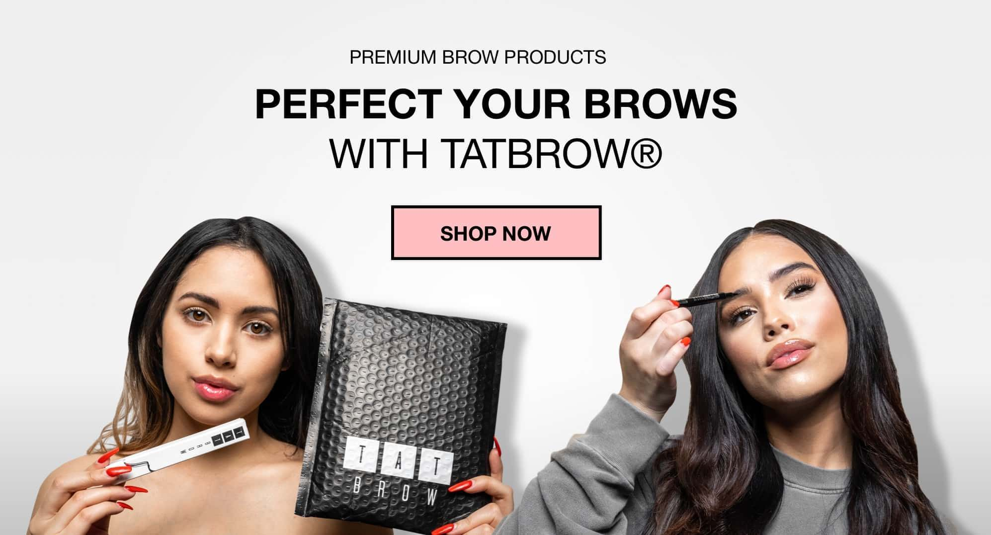 two girls using TatBrow