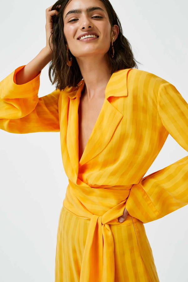 Galvan London Orange Cupro Wrap Long Sleeve Shirt