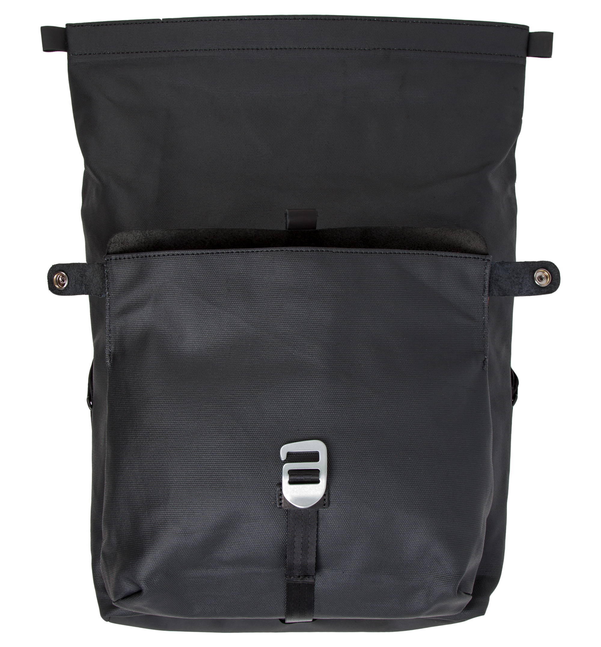 Iron & Resin Motorcycle Pannier Bag - Available In Black - Front of Bag