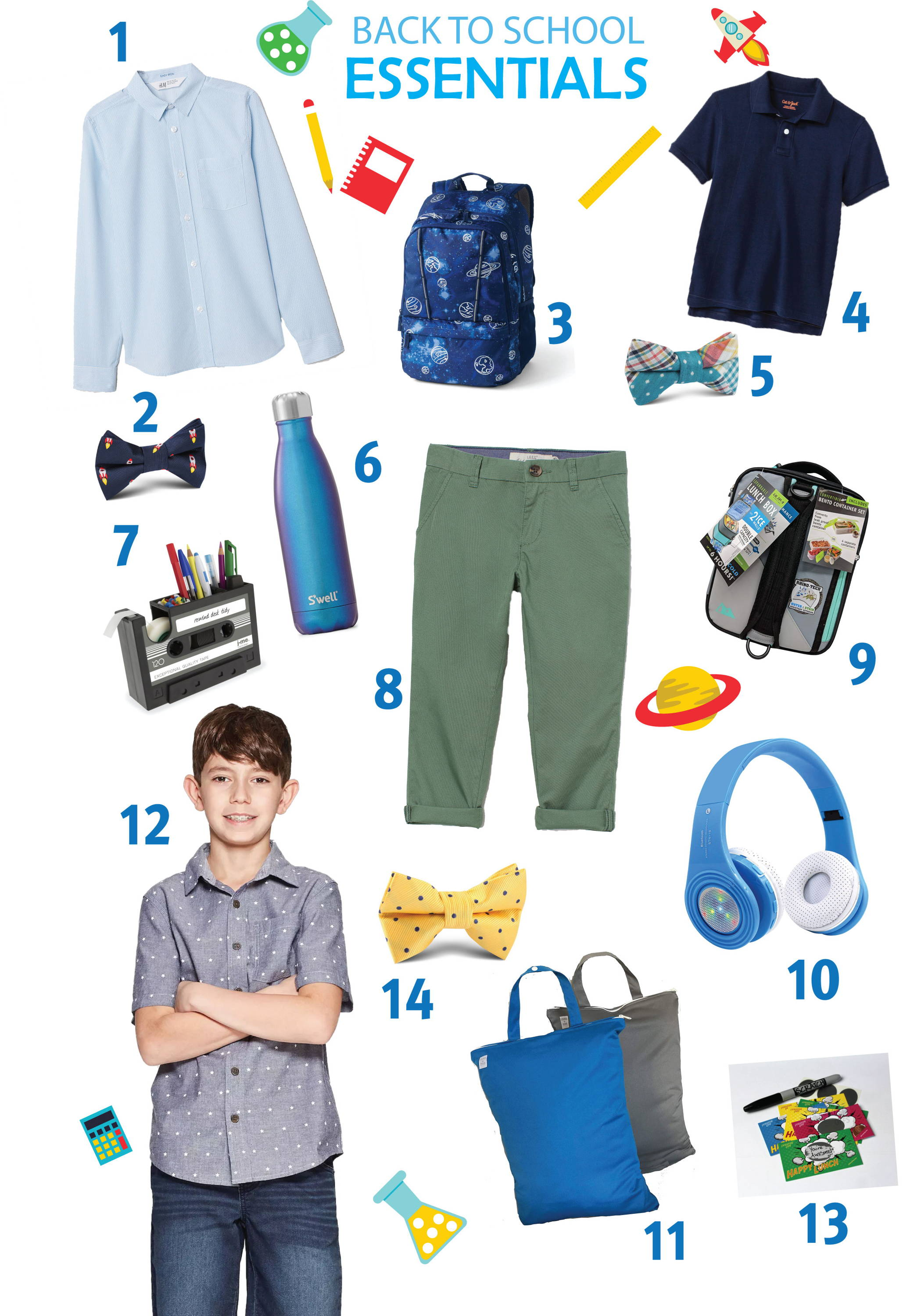 Back to school essential items including kids bow ties from H-Bomb Ties