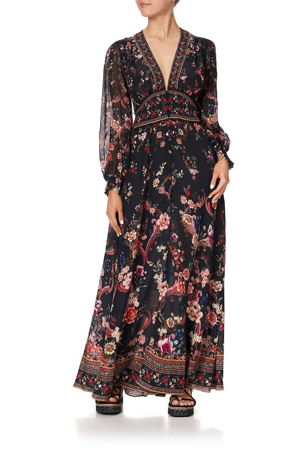 CAMILLA long sleeve button down maxi dress, black with pink florals