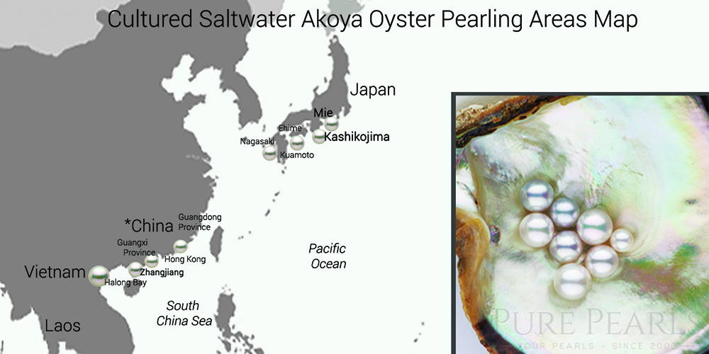 PurePearls Akoya Pearl Farm Map Japan China Vietnam
