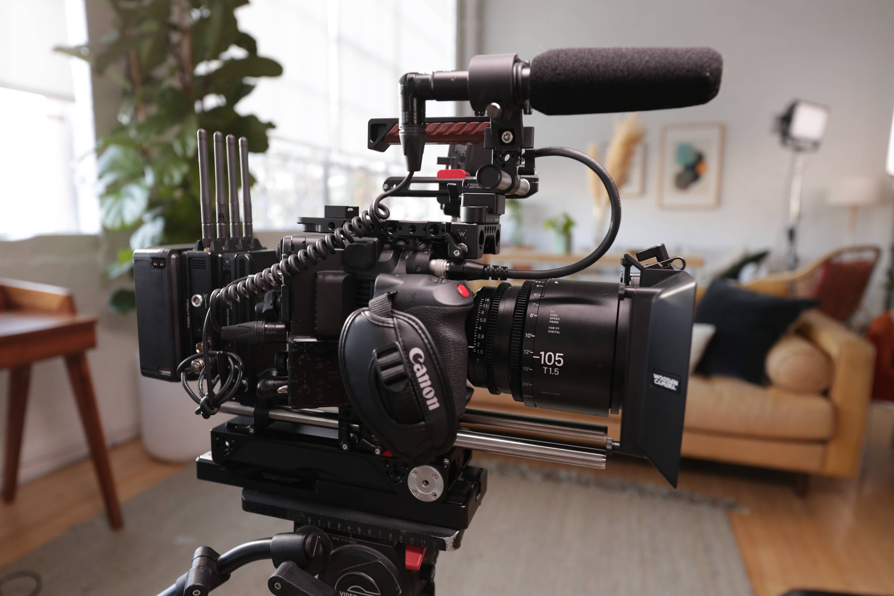 Canon C500 MK II with Teradek RT wireless lens control and Bolt 4K with Wooden Camera Pro Kit