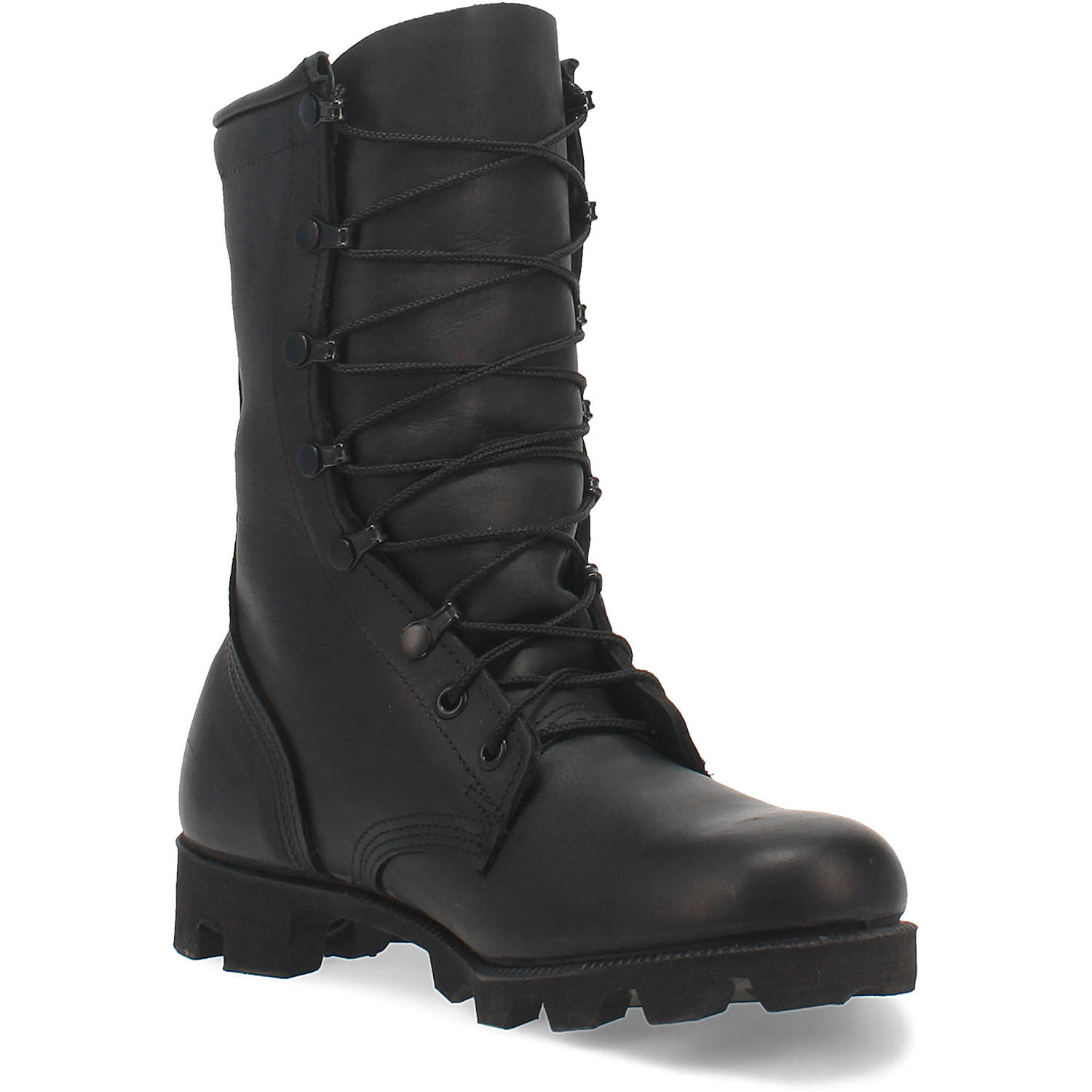 Black All-Leather Combat Boot with Panama Sole