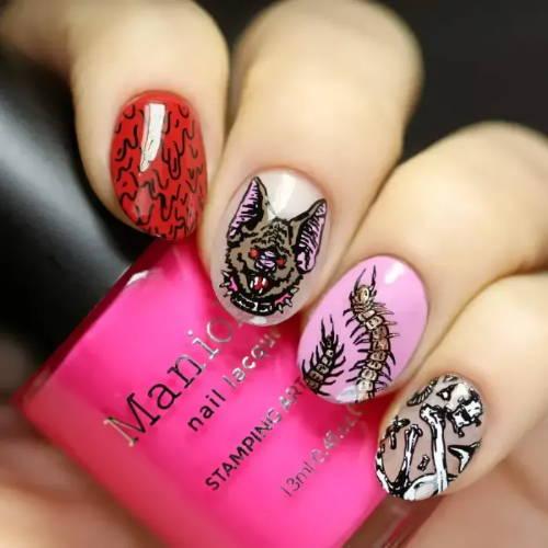 nails with blood, rat monster, centipede and bones design