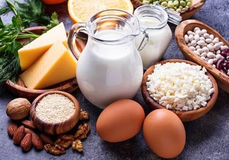 Auswahl an eiweißreichen Lebensmitteln für den Muskelaufbau.