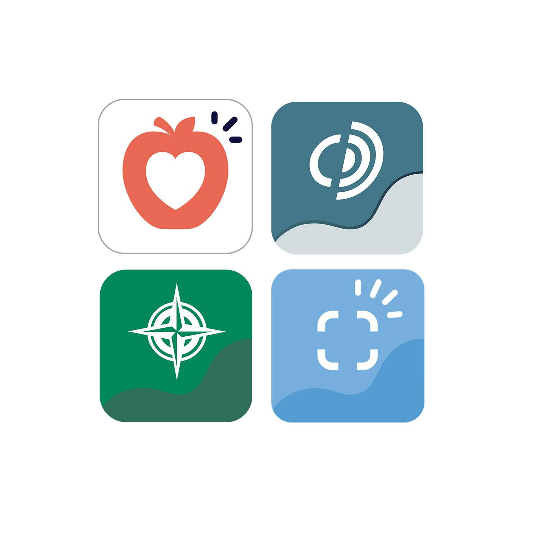Eine Reihe von Logos der Tobii Dynavox Communication App