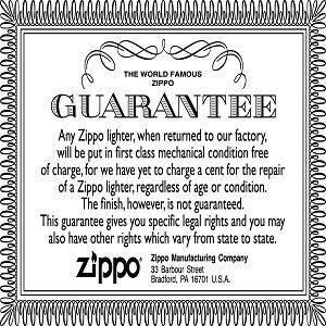 Image of Zippos world famous guarantee