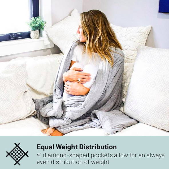 Woman sitting on a couch wrapped up on a comfortable weighted blanket.