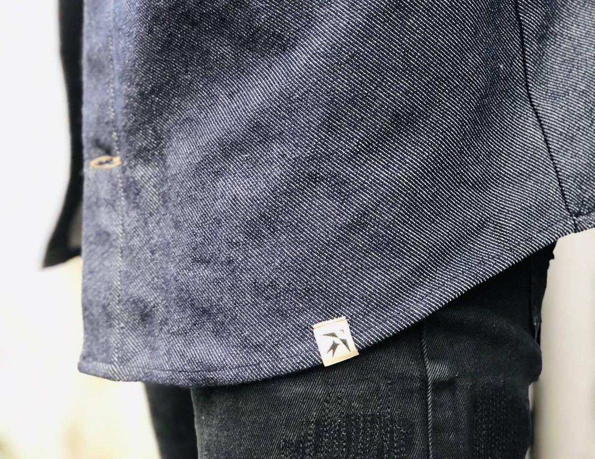 Veste confectionnée à partir de chutes de coton bio. Veste en jean en direct du créateur et en précommande